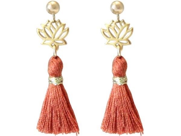 Earrings Dangle Earrings 925 Silver Gold Plated Lotus Flower TasselRed Brown YOGA 4 cm | Gemshine Schmuck