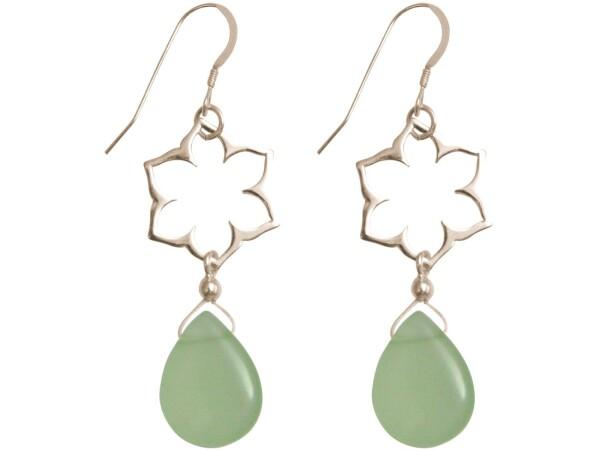 925 silver earrings with YOGA mandala lotus flowers and chalcedony | Gemshine Schmuck