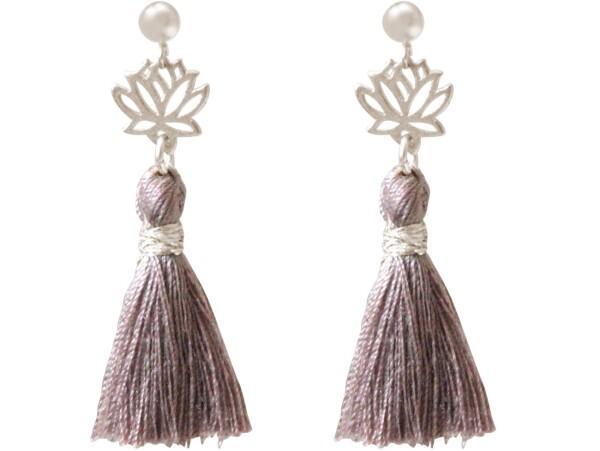 Earrings Earrings 925 Silver Lotus Flower Tassel Rose YOGA 4 cm   Gemshine Schmuck