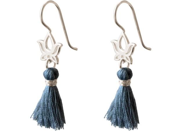 Earrings Earrings 925 Silver Lotus Flower Tassel Blue YOGA 4 cm   Gemshine Schmuck