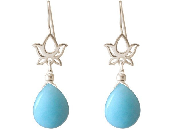 925 silver earrings with YOGA mandala lotus flowers and turquoise   Gemshine Schmuck