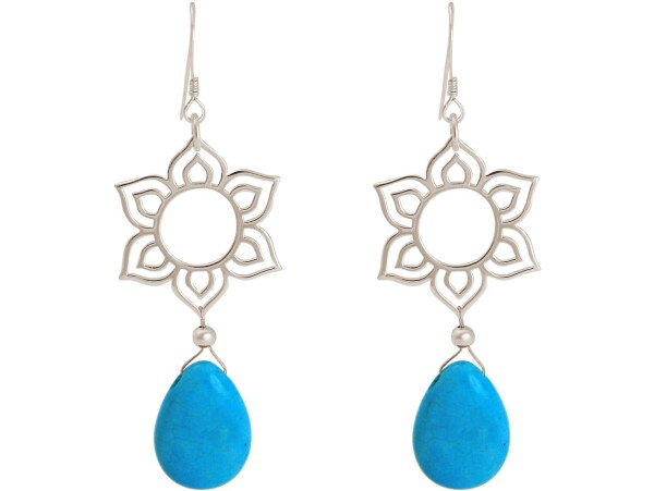 925 silver earrings with YOGA mandala lotus flowers and turquoise | Gemshine Schmuck