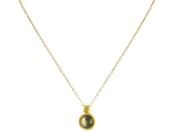 Necklace 925 Silver Gold Plated Lemon Quartz Yellow 10mm | Gemshine Schmuck