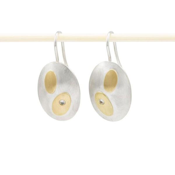 oval earrings silver gold brilliants SYBEL | ringlein und noch mehr