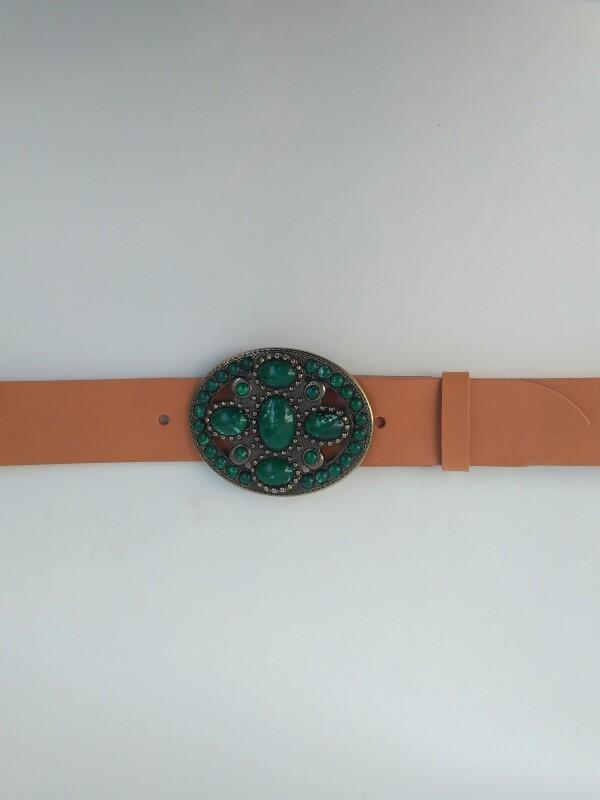 Oval Green Leather Belt | JUAN-JO gallery