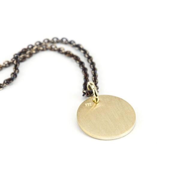 round pendant 585 gold with stamped heart   ringlein und noch mehr