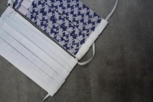 Reversible cloth mask Pali white / blue | Imkerei Nengel