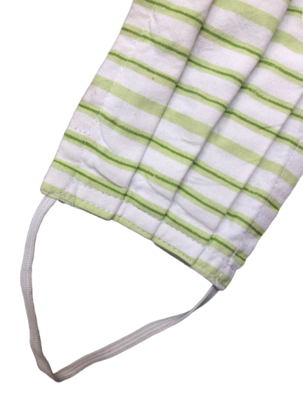 Fabric mask white green striped with rubber | Imkerei Nengel