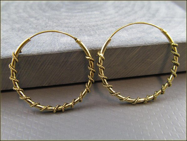 925 Silver Indian Hoop Earrings with Small Ball Gold Plated DUPLICATE | Carol and Me