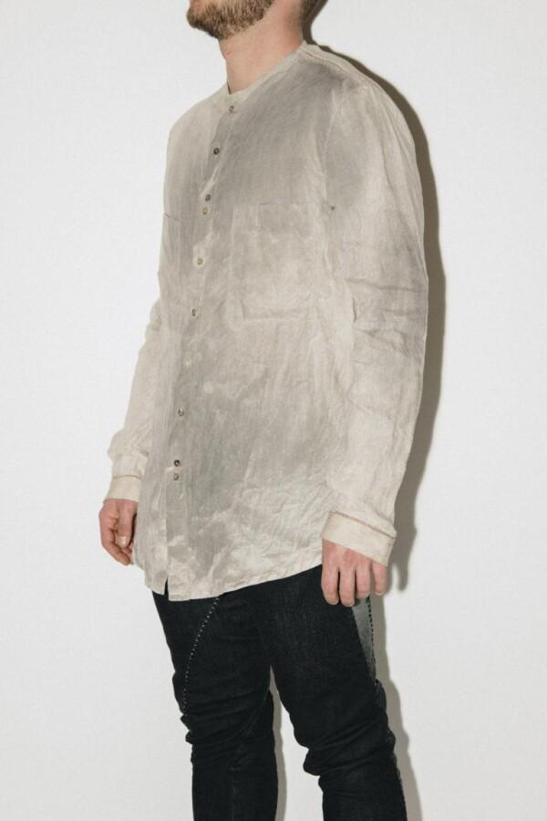 Beige Dye Linen Shirt from MAVRANYMA | INTROSPECTUM CONCEPT STORE