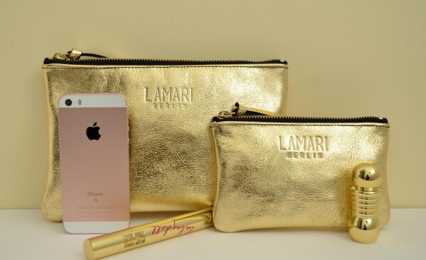 Gold Leather Cosmetic Bag June BIG | LAMARI BERLIN