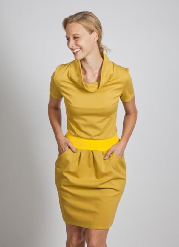 Mustard stretch dress with pockets and stand-up collar viscose maren | kirsch-grün