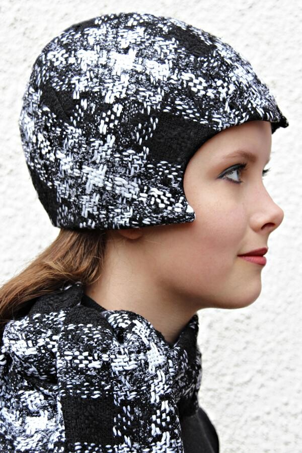 black and white checked corner cap KARA_220 | MOLOTOW
