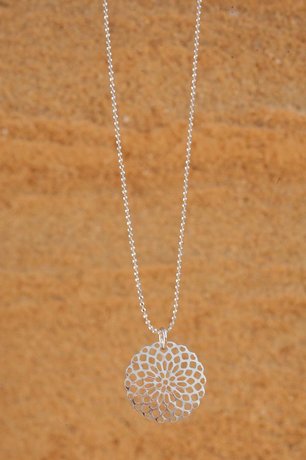artjany mandala necklace rhodium plated | artjany - Kunstjuwelen