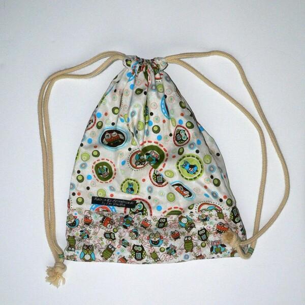 Kids gym bag with owl pattern | Eva Brachten Modedesign