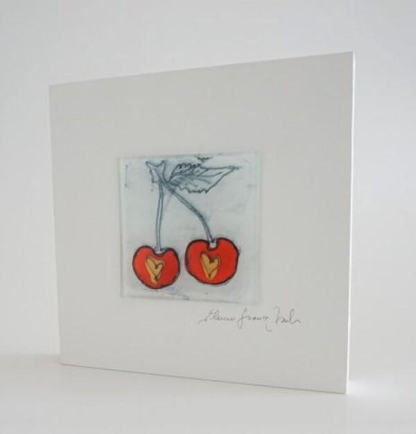 Glass picture cherry 15x15 white   Design Elena