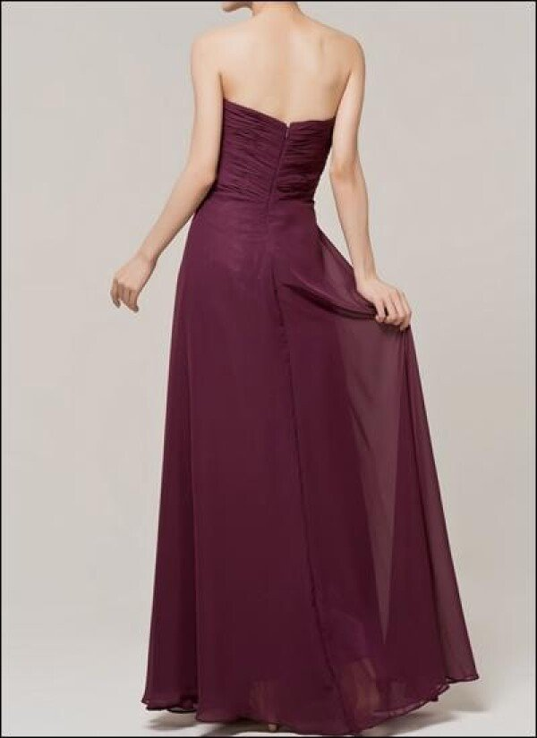 Floor-length evening dress with gathering in the color grape | Lafanta | Braut- und Abendmode