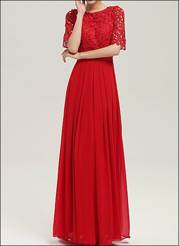 Red evening dress with sleeves | Lafanta | Braut- und Abendmode