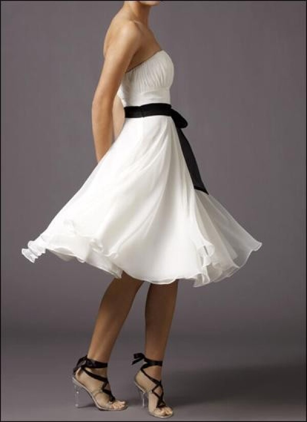 White cocktail dress with ruffle and bow | Lafanta | Abend- und Brautmode