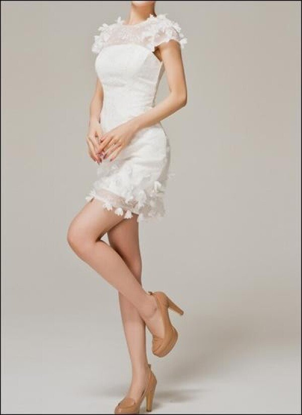 Short wedding dress with draping and flower | Lafanta | Abend- und Brautmode