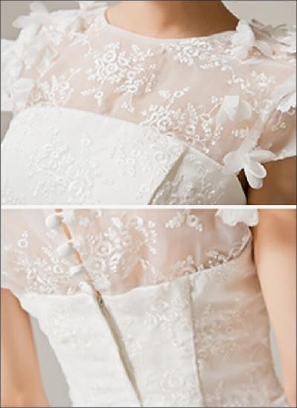 Short wedding dress with draping and flower | Lafanta | Braut- und Abendmode