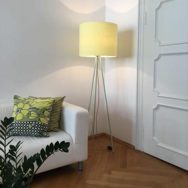 Hygge floor lamp Linum 130cm Green linen shade textile cable | lumbono