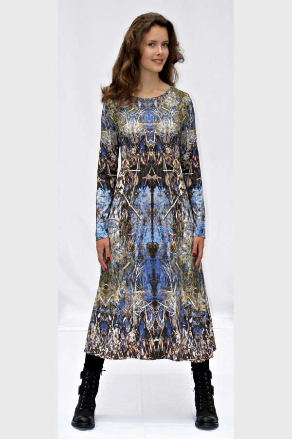 blue jersey dress with own fabric print LYRELLE_71   MOLOTOW