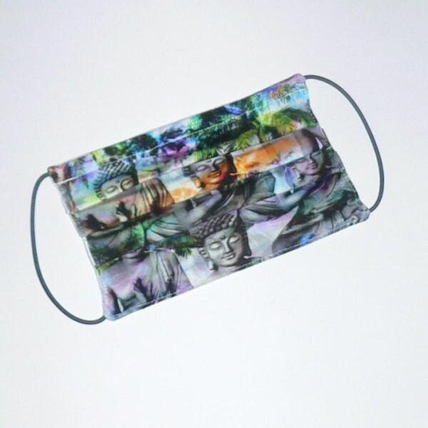 Mouth-nose mask with buddah pattern gray-violet | Eva Brachten Modedesign