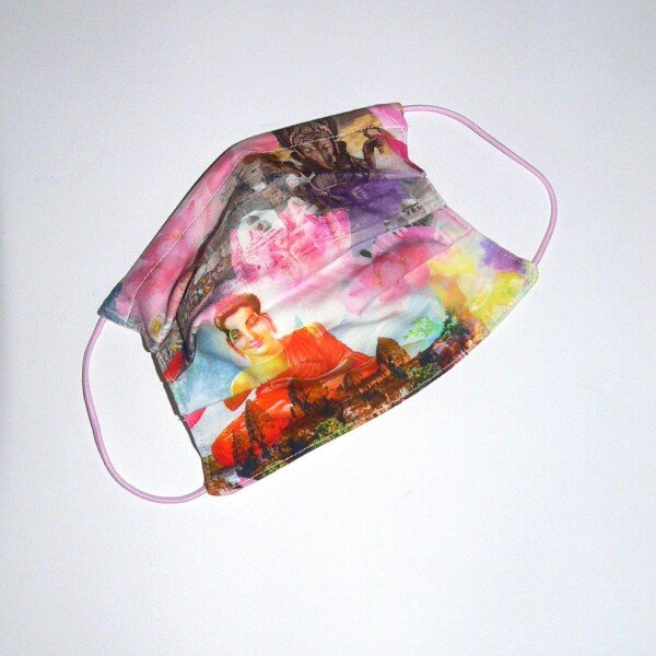 Mouth-nose mask Little India pink-violet-yellow | Eva Brachten Modedesign