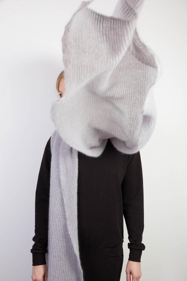 Mohair scarf light gray   mmies