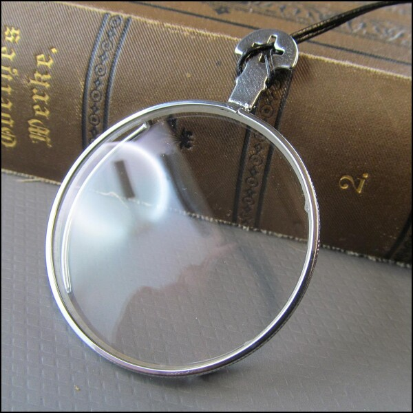 Silver colored monocle on cotton cord | Carol and Me