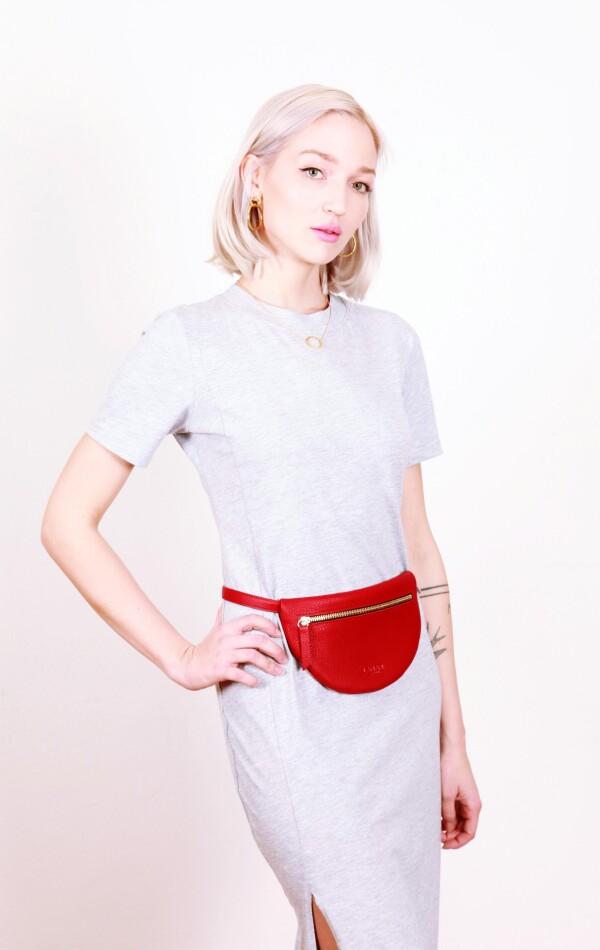 Leather fanny pack red MOON BUM BAG | LAMARI BERLIN