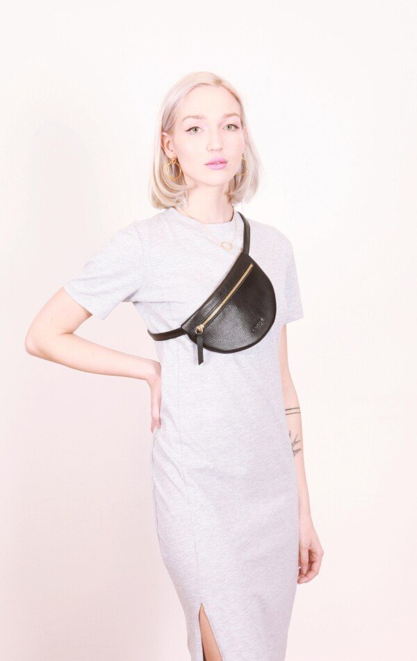 Leather fanny pack Black MOON BUM BAG | LAMARI BERLIN