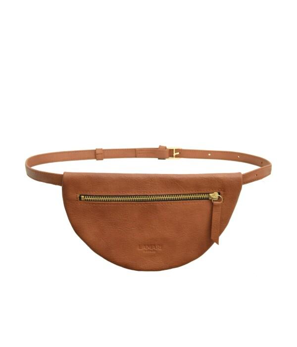 Leather fanny pack Cognac MOON BUM BAG | LAMARI BERLIN