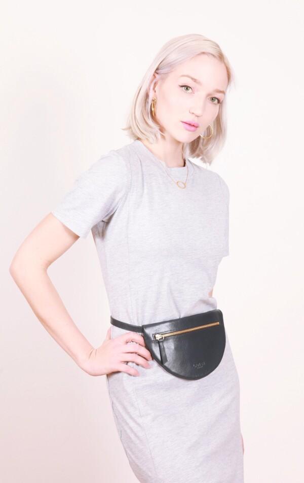 Leather belly bag dark blue MOON BUM BAG | LAMARI BERLIN