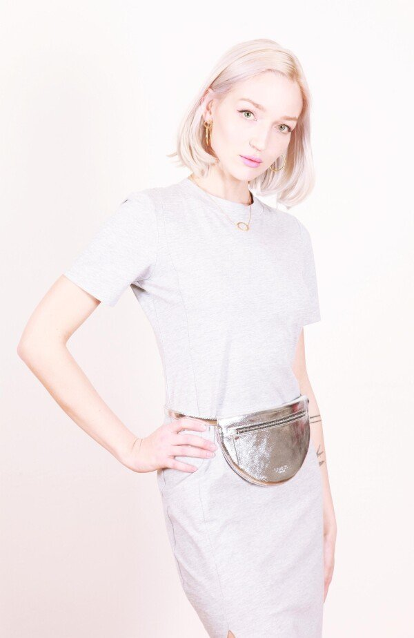 Leather fanny pack silver MOON BUM BAG | JUWEL Concept Store
