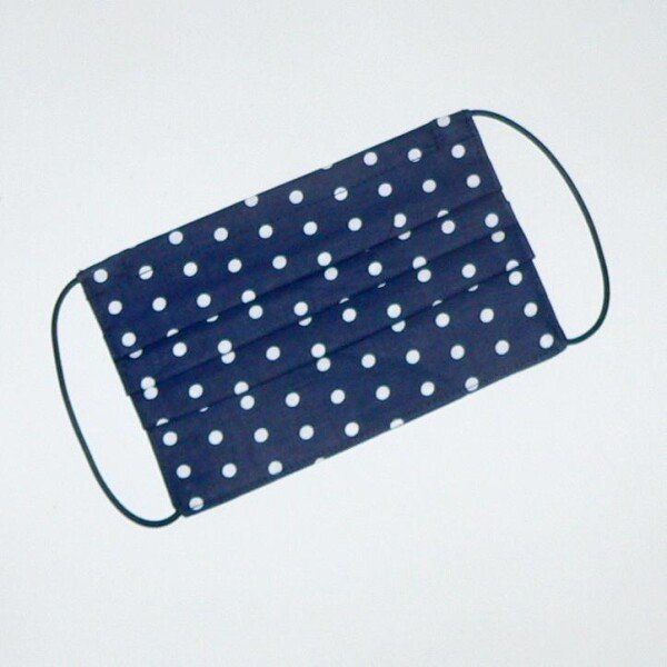 Mouth-nose mask blue with white small circles | Eva Brachten Modedesign