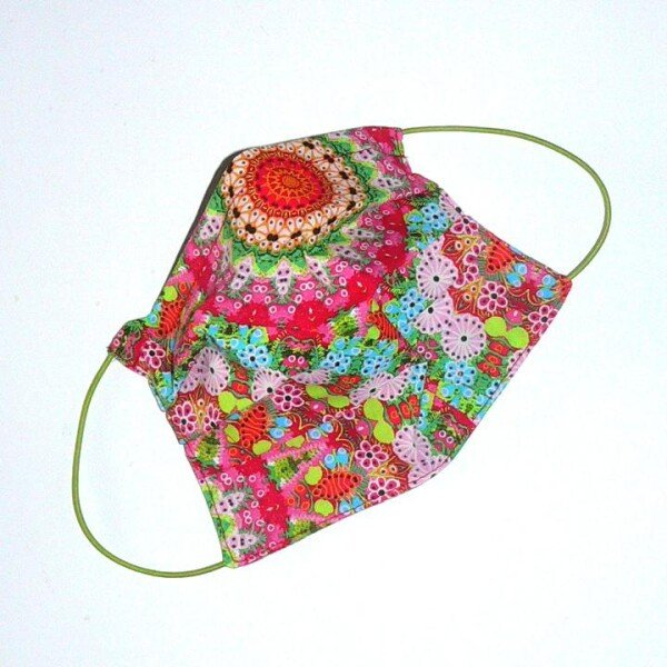 Mouth-nose mask small flowers colorful | Eva Brachten Modedesign