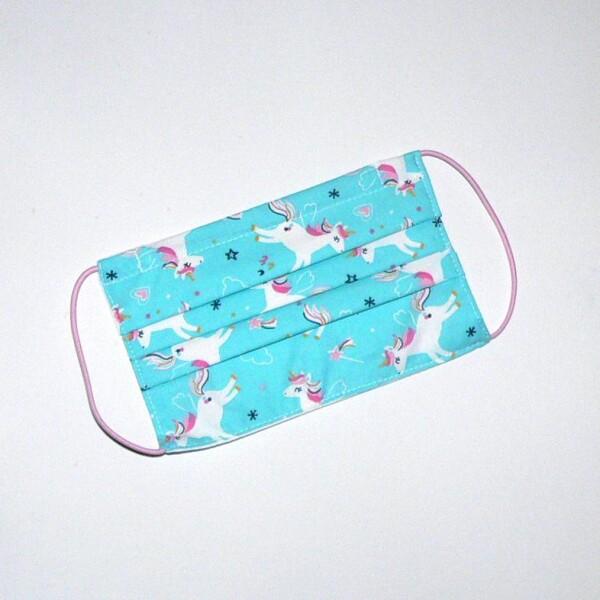 Mouth-nose mask unicorn turquoise-pink | Eva Brachten Modedesign