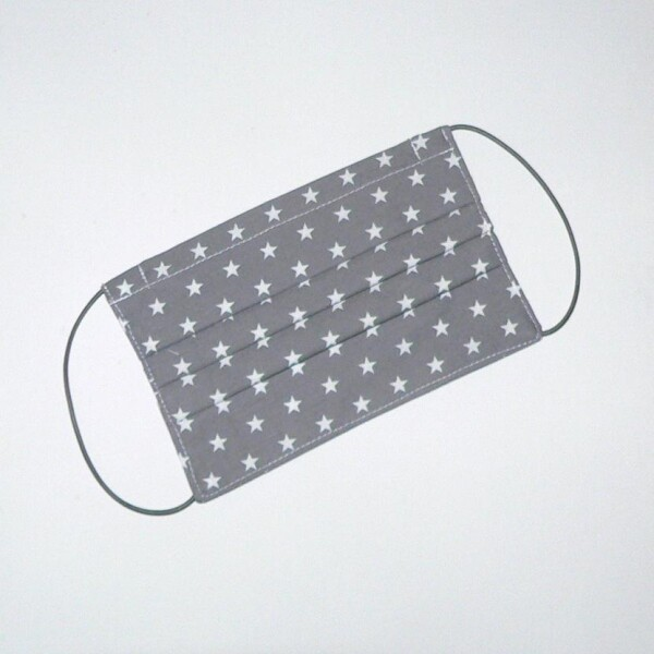 Mouth-nose mask with stars gray-white | Eva Brachten Modedesign