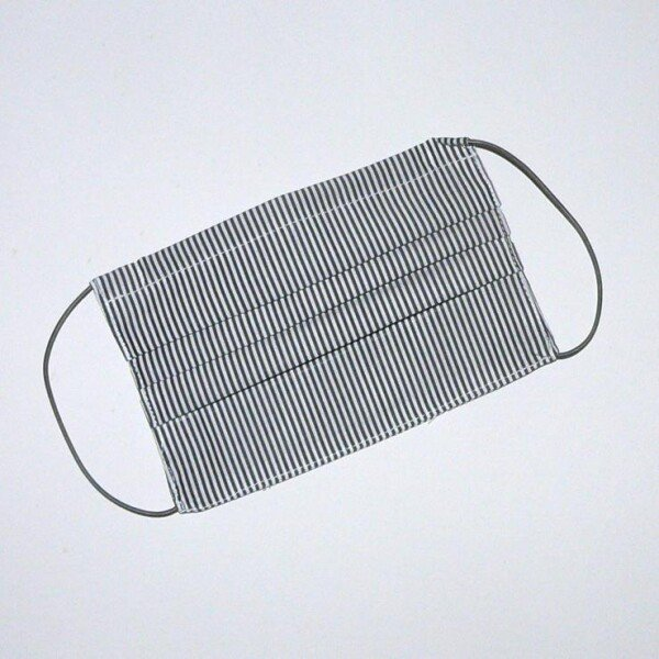 Mouth-nose mask stripes gray white | Eva Brachten Modedesign