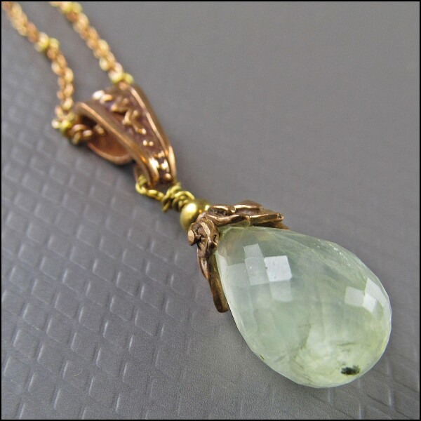 Beautiful long prehnite cape emerald gemstone necklace | Carol and Me