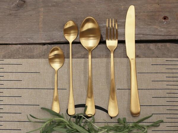 Cutlery set NORDIQUE 5pcs gold chic antique | Calluna Cottage