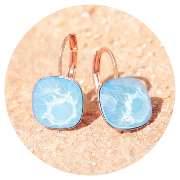 Artjany earring summer blue rose gold | artjany - Kunstjuwelen