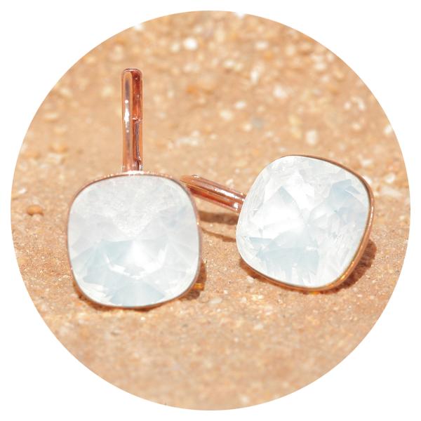 Artjany earring white opal rose gold | artjany - Kunstjuwelen