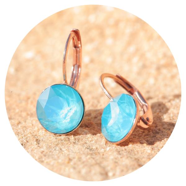 Artjany earrings azure blue rose gold | artjany - Kunstjuwelen