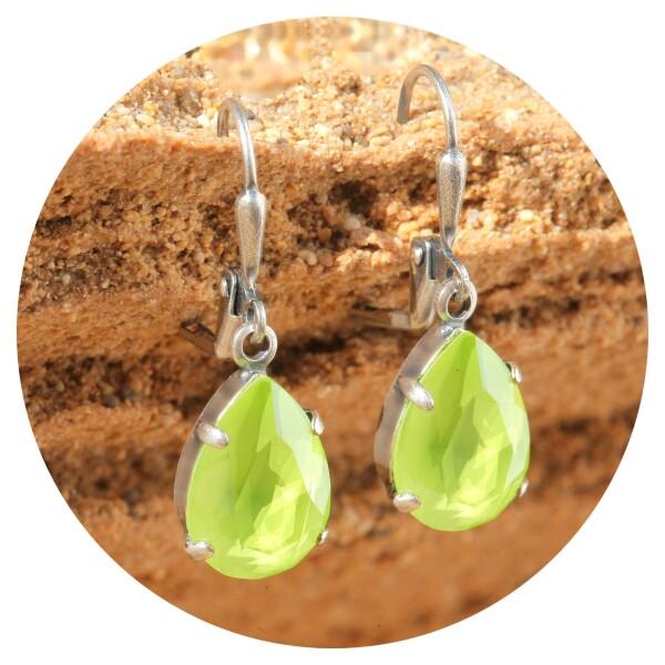 artjany Earring crystal lime silver   artjany - Kunstjuwelen