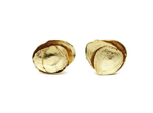 Brass stud earrings   Nokike Atelier