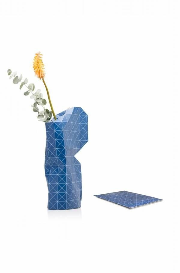 Paper Vase Cover - Grid Blue - Tiny Miracles - large | SinnGut Concept Store