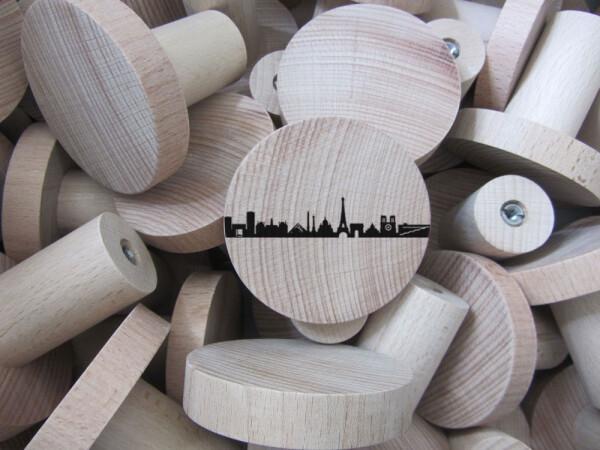 PARIS skyline wardrobe knobs set of 3 beech wood | 44spaces